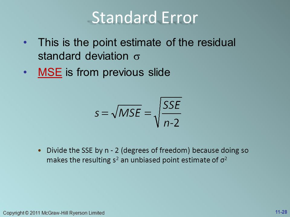 Standard Error This is the point estimate of the residual standard deviation s. MSE is from previous slide.