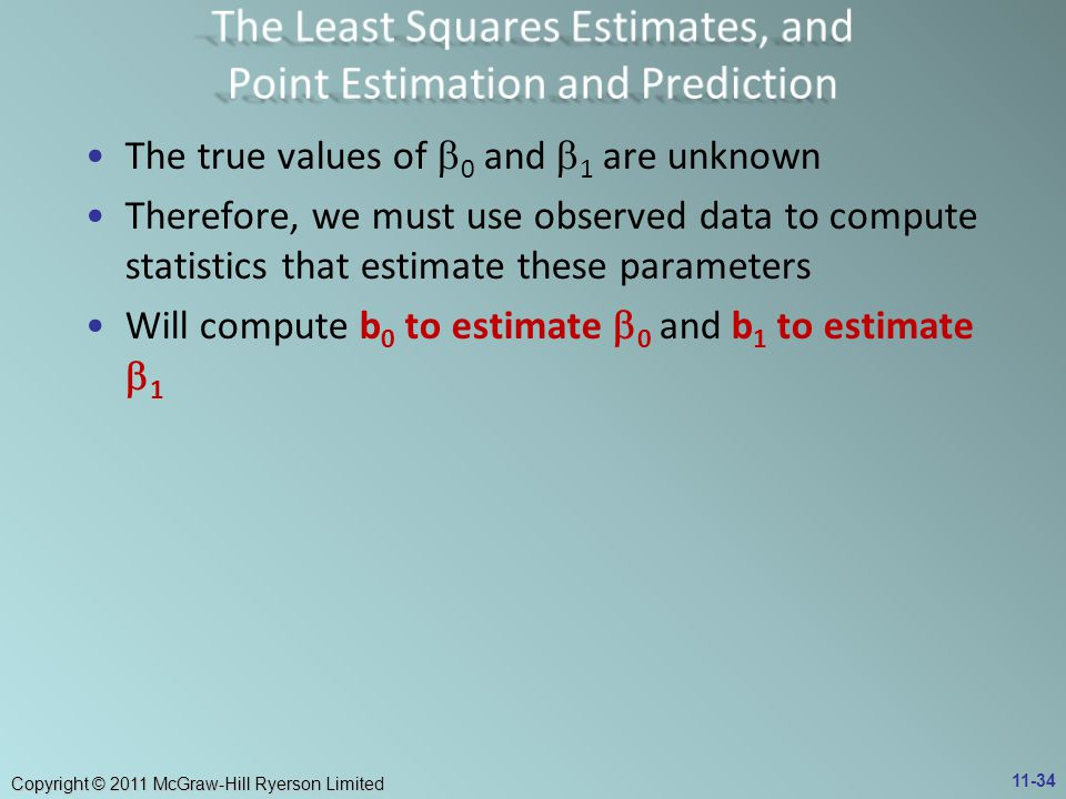 The Least Squares Estimates, and Point Estimation and Prediction