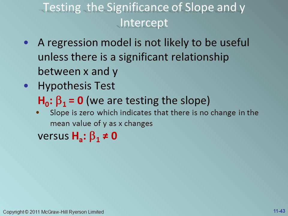 Testing the Significance of Slope and y Intercept
