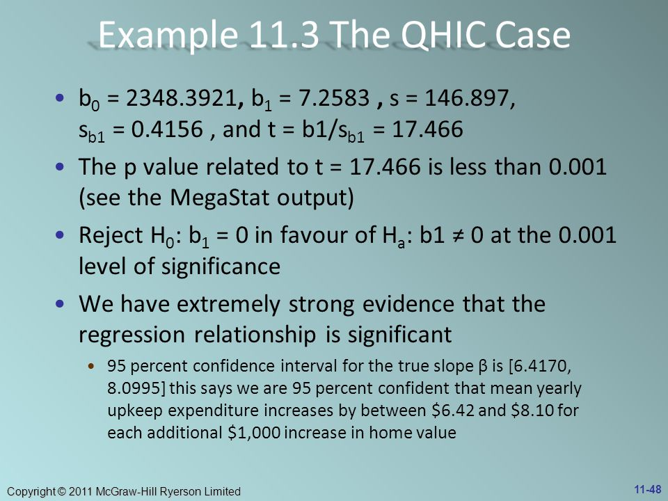 Example 11.3 The QHIC Case b0 = 2348.3921, b1 = 7.2583 , s = 146.897, sb1 = 0.4156 , and t = b1/sb1 = 17.466.