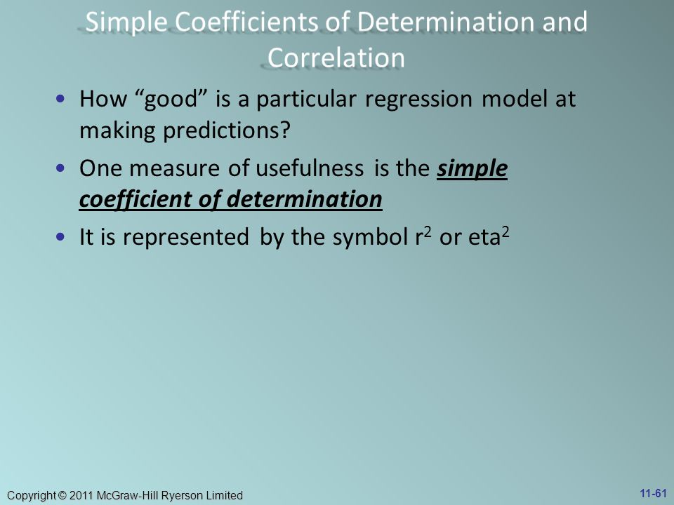 Simple Coefficients of Determination and Correlation