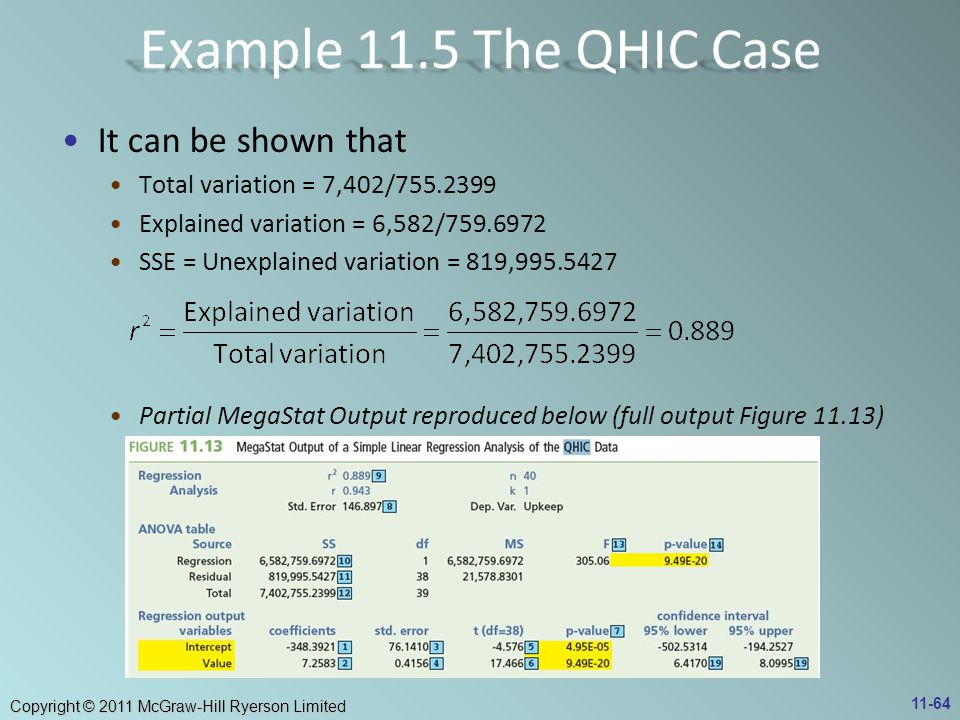 Example 11.5 The QHIC Case It can be shown that