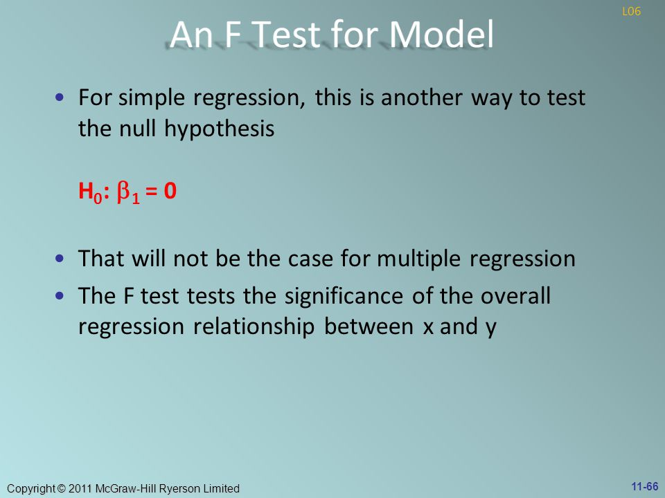 An F Test for Model L06. For simple regression, this is another way to test the null hypothesis H0: b1 = 0.