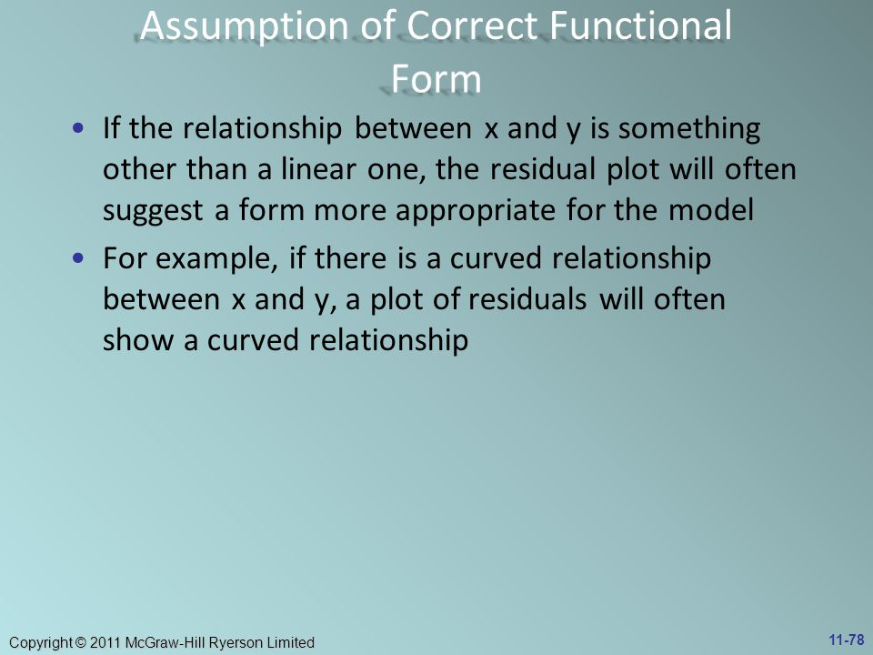 Assumption of Correct Functional Form