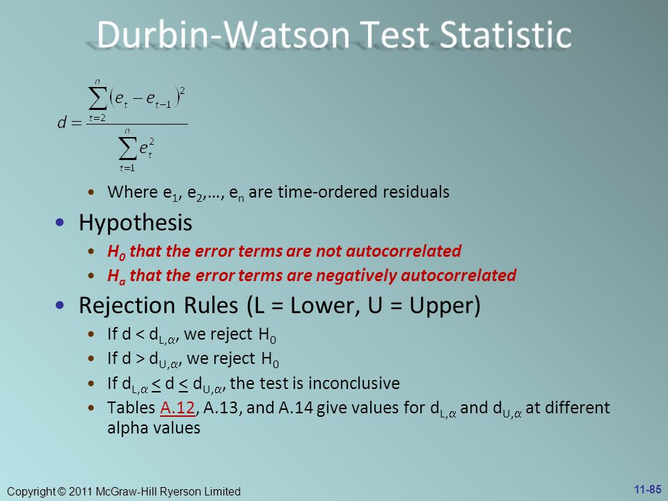 Durbin-Watson Test Statistic