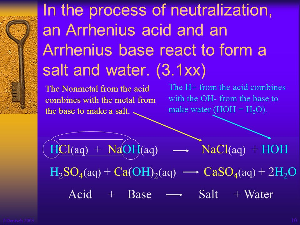 In the process of neutralization, an Arrhenius acid and an Arrhenius base react to form a salt and water. (3.1xx)