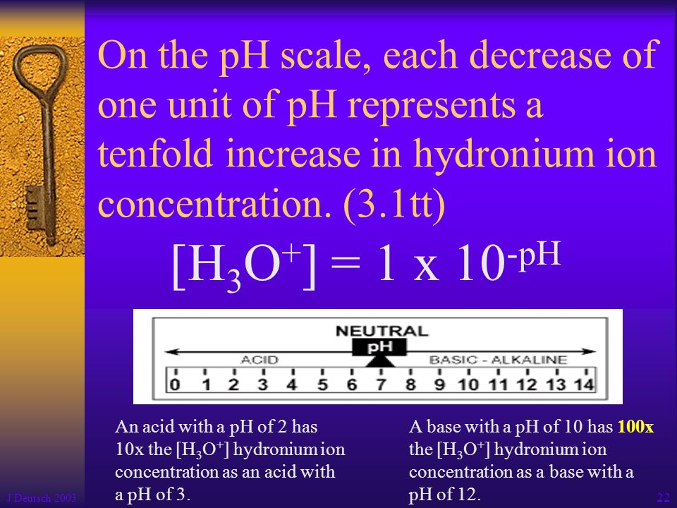 On the pH scale, each decrease of one unit of pH represents a tenfold increase in hydronium ion concentration. (3.1tt)