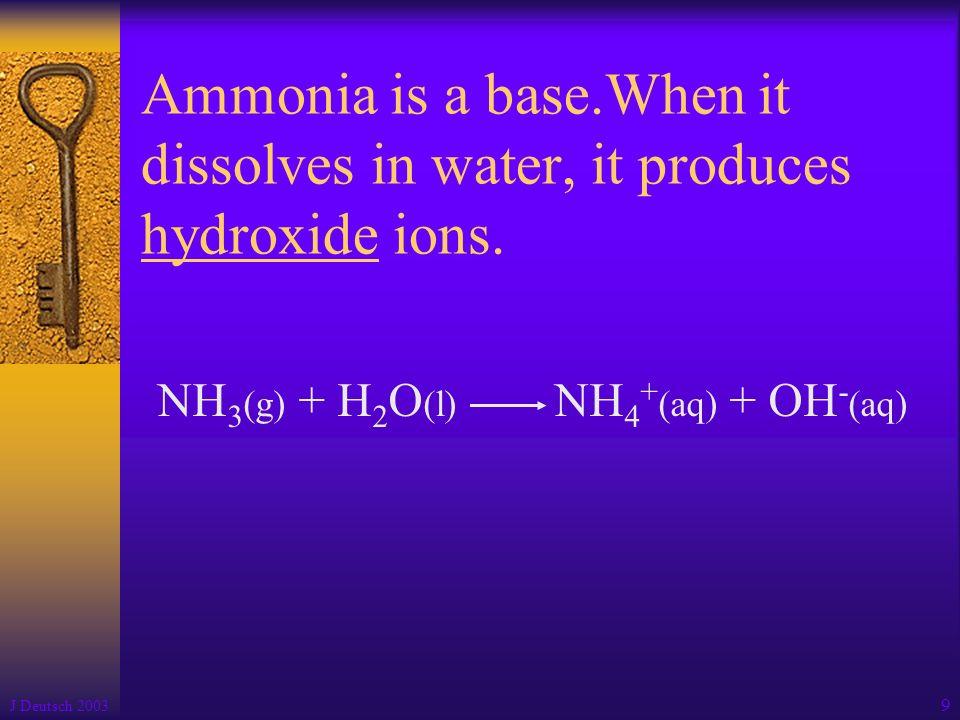 NH3(g) + H2O(l) NH4+(aq) + OH-(aq)
