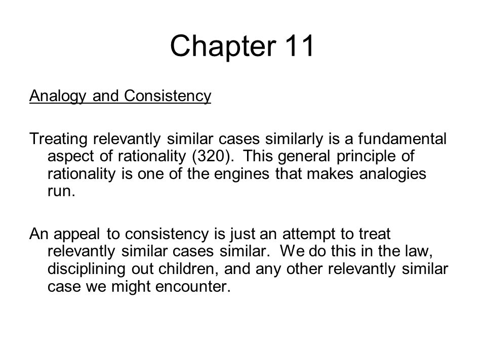 Chapter 11 Analogy and Consistency
