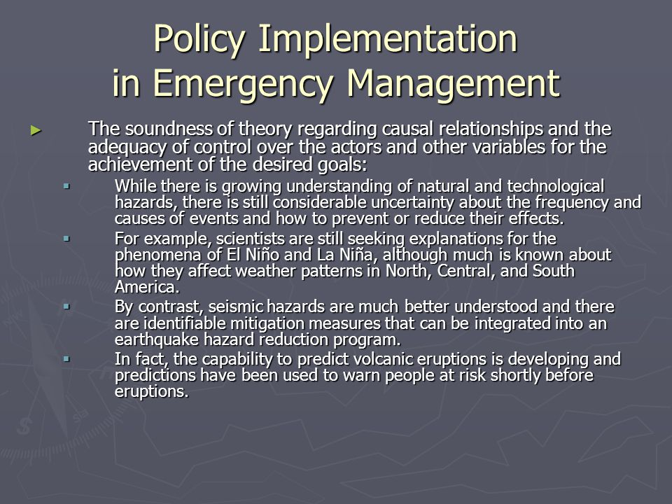 Policy Implementation in Emergency Management