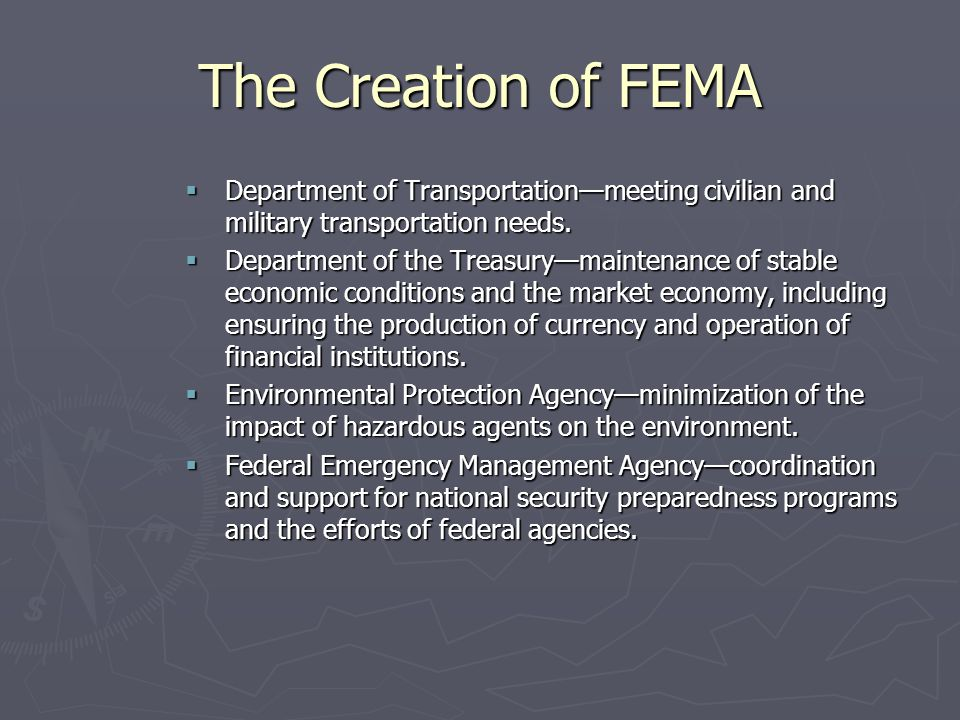 The Creation of FEMA Department of Transportation—meeting civilian and military transportation needs.
