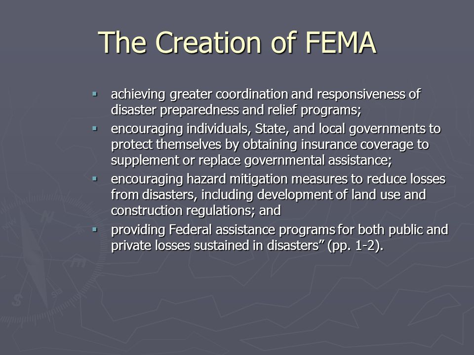 The Creation of FEMA achieving greater coordination and responsiveness of disaster preparedness and relief programs;