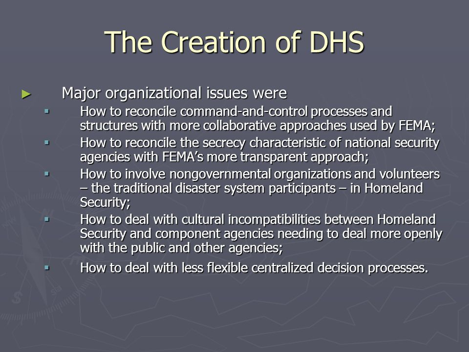 major component agencies of the dhs The department of human services (dhs) consists of eight major divisions, plus the office for a fund run by a commission, an office directed by a governor's council, and various administrative offices that handle such areas as quality control, risk management, investigations, information systems, licensing and contracts which span the department.