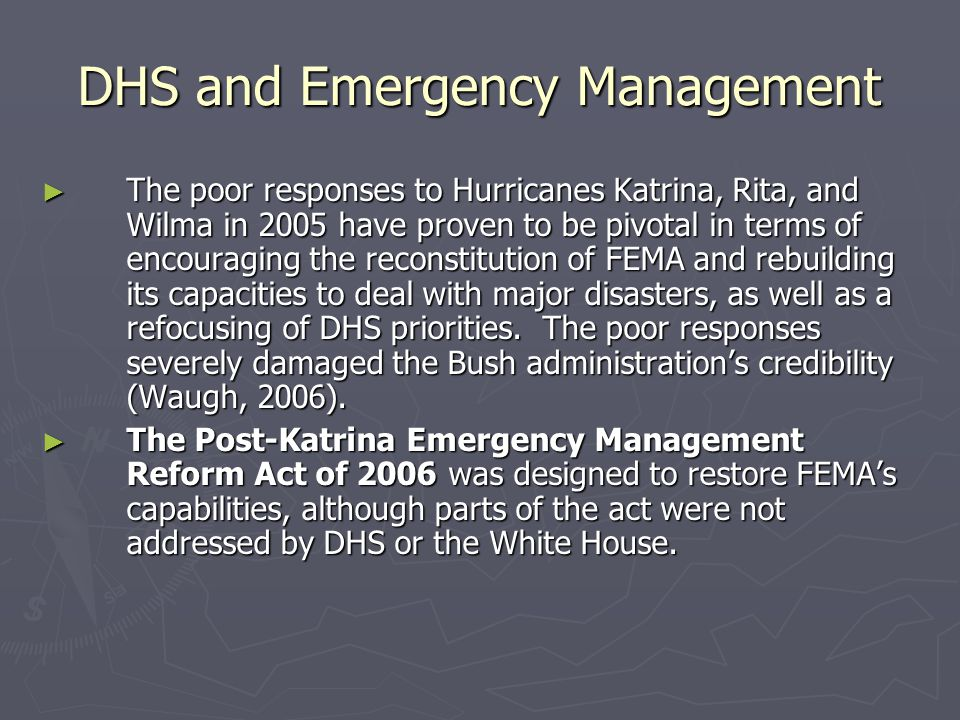 DHS and Emergency Management