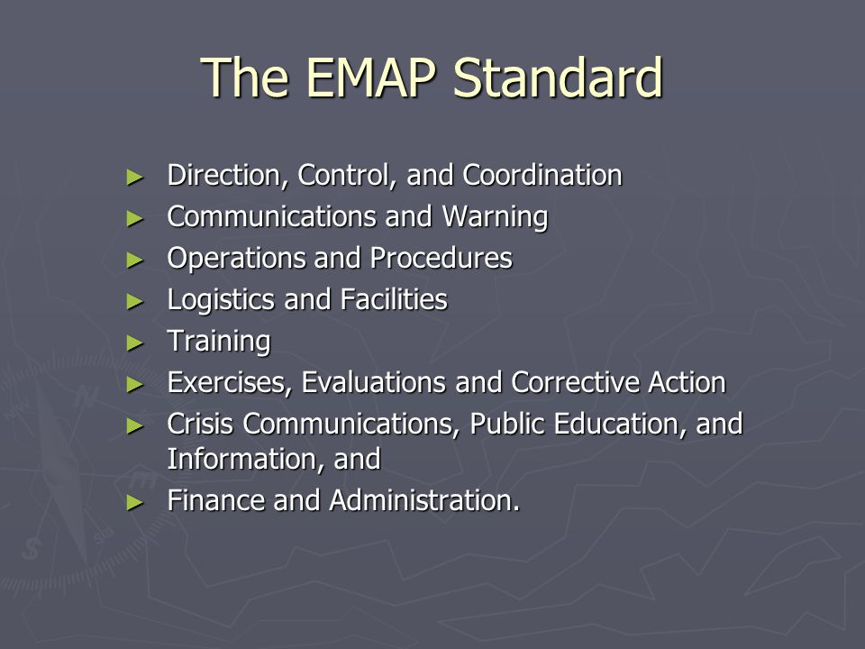 The EMAP Standard Direction, Control, and Coordination