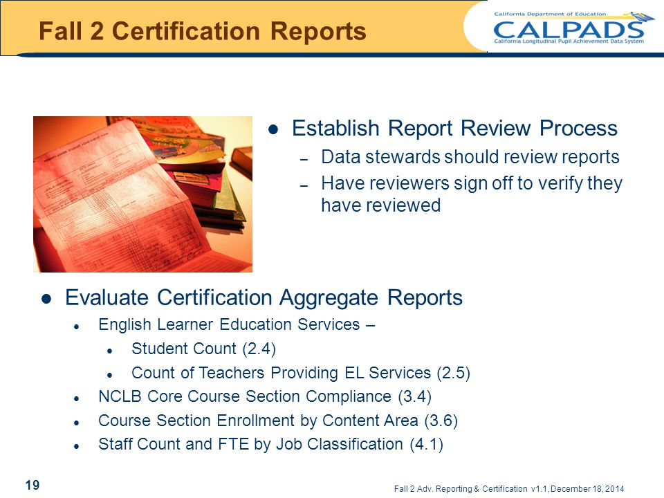 Fall 2 Certification Reports