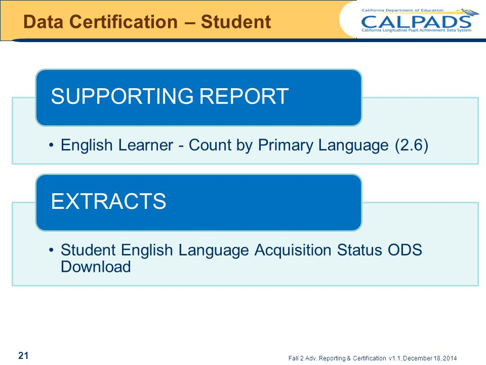 Data Certification – Student