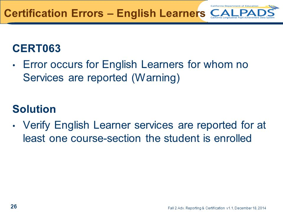 Certification Errors – English Learners