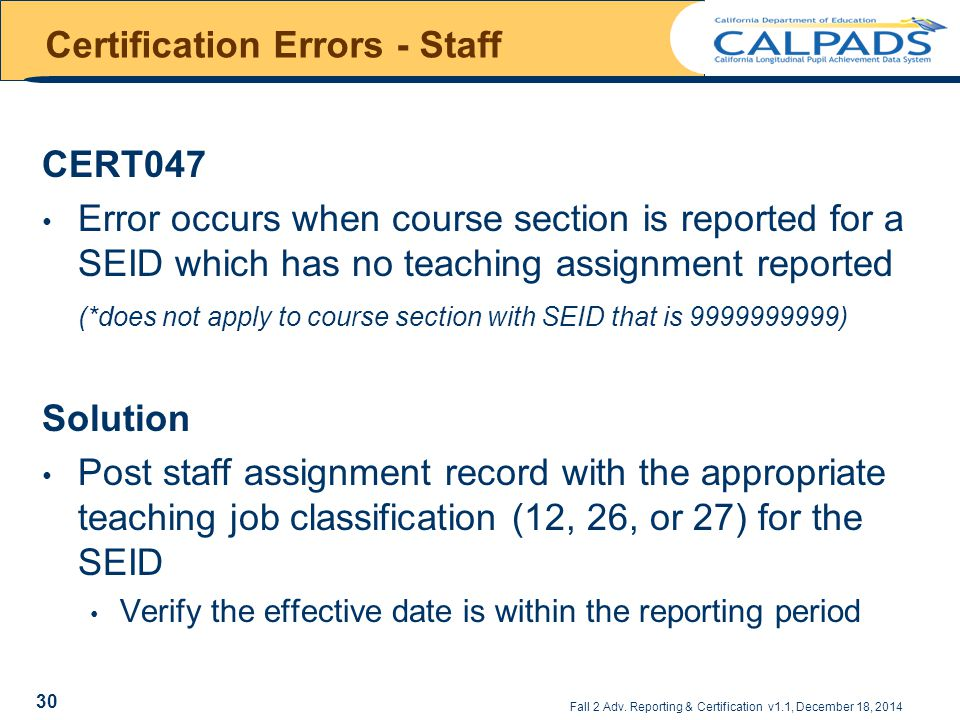 Certification Errors - Staff