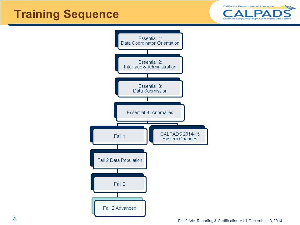 Training Sequence Essential 1: Data Coordinator Orientation. Essential 2: Interface & Administration.
