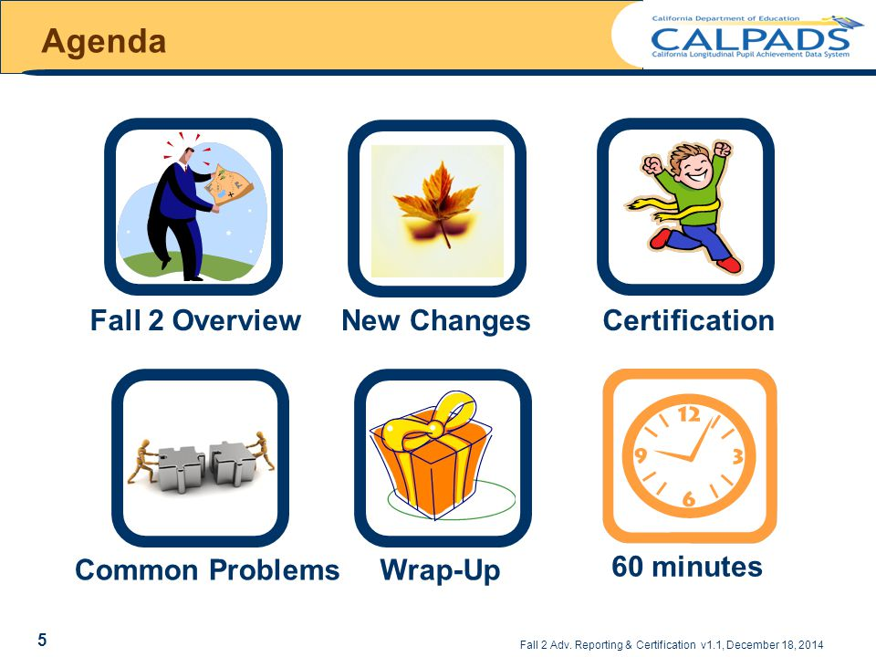 Agenda Fall 2 Overview New Changes Certification 60 minutes