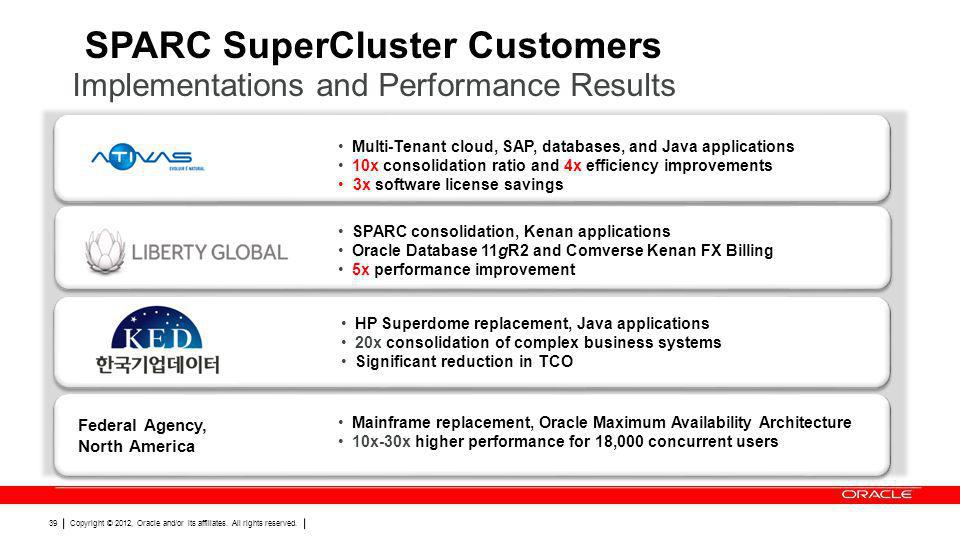 SPARC SuperCluster Customers