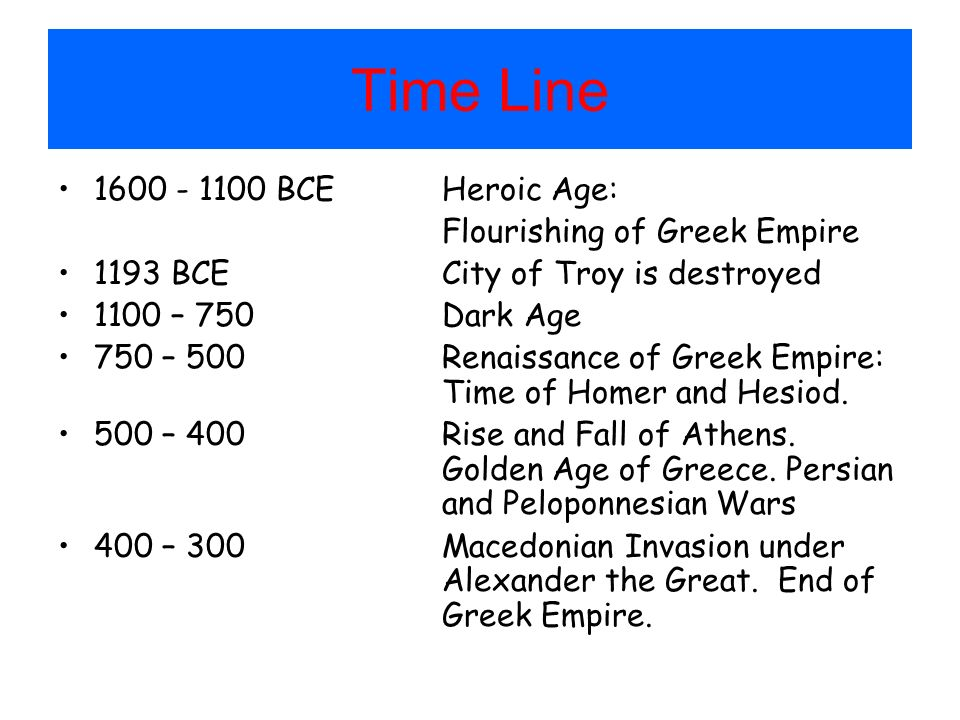 Time Line 1600 - 1100 BCE Heroic Age: Flourishing of Greek Empire