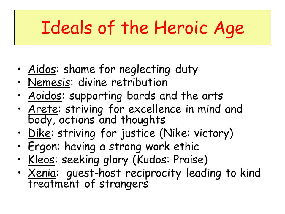Ideals of the Homeric Age