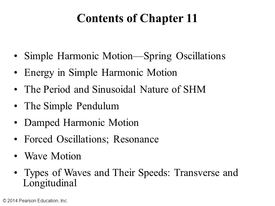 Contents of Chapter 11 Simple Harmonic Motion—Spring Oscillations
