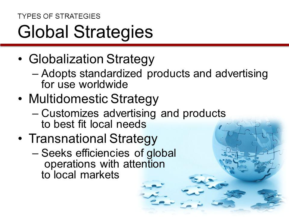 TYPES OF STRATEGIES Global Strategies