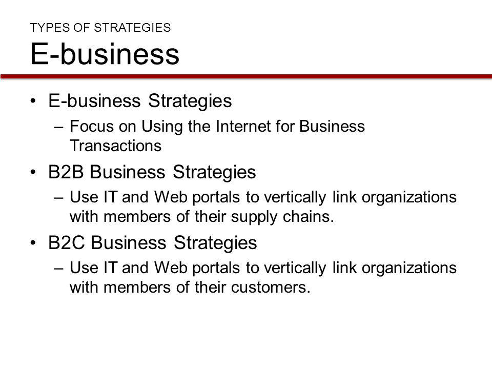 TYPES OF STRATEGIES E-business