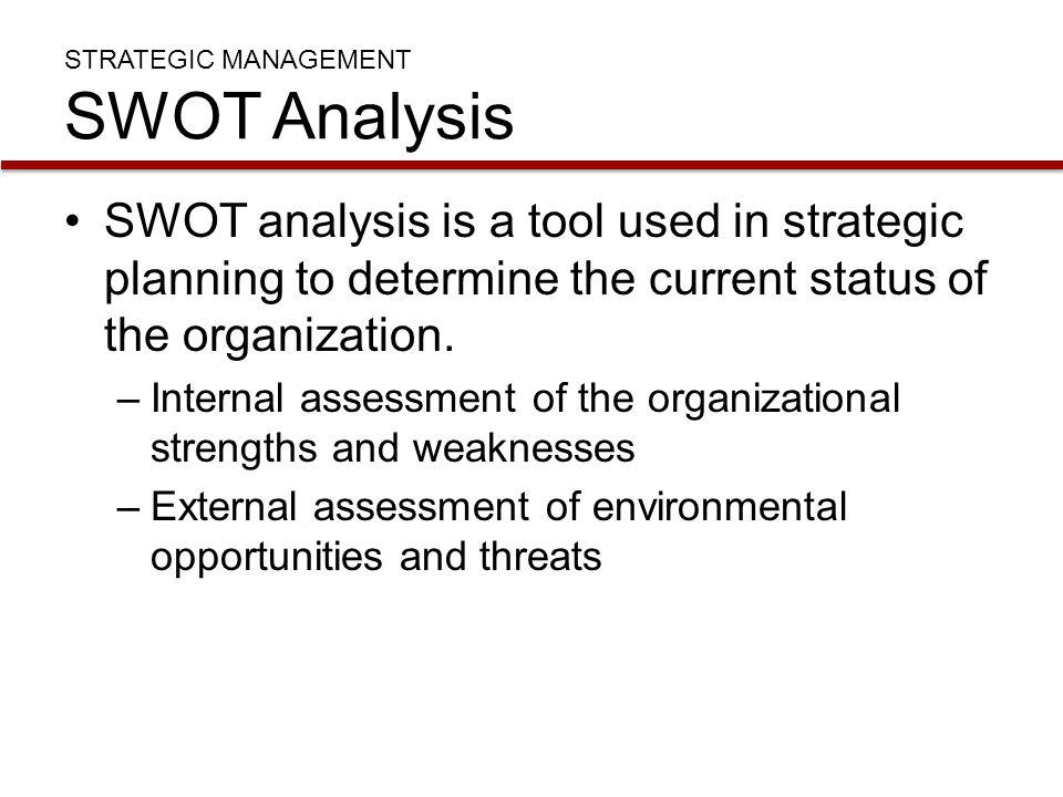 STRATEGIC MANAGEMENT SWOT Analysis