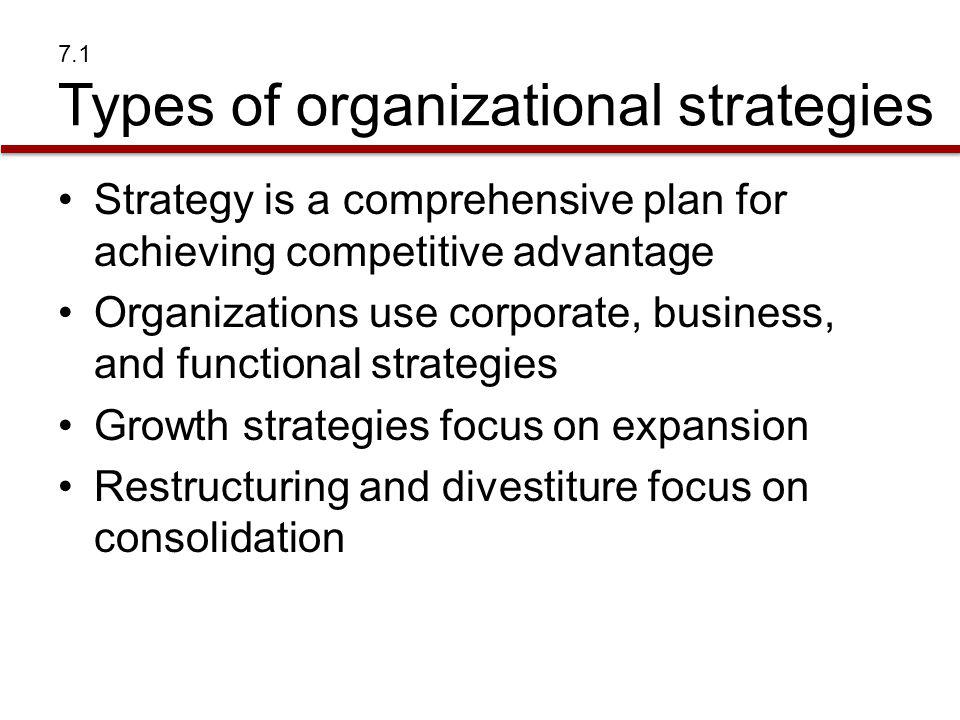 7.1 Types of organizational strategies