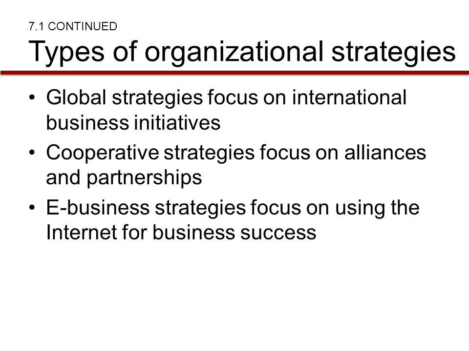 7.1 CONTINUED Types of organizational strategies