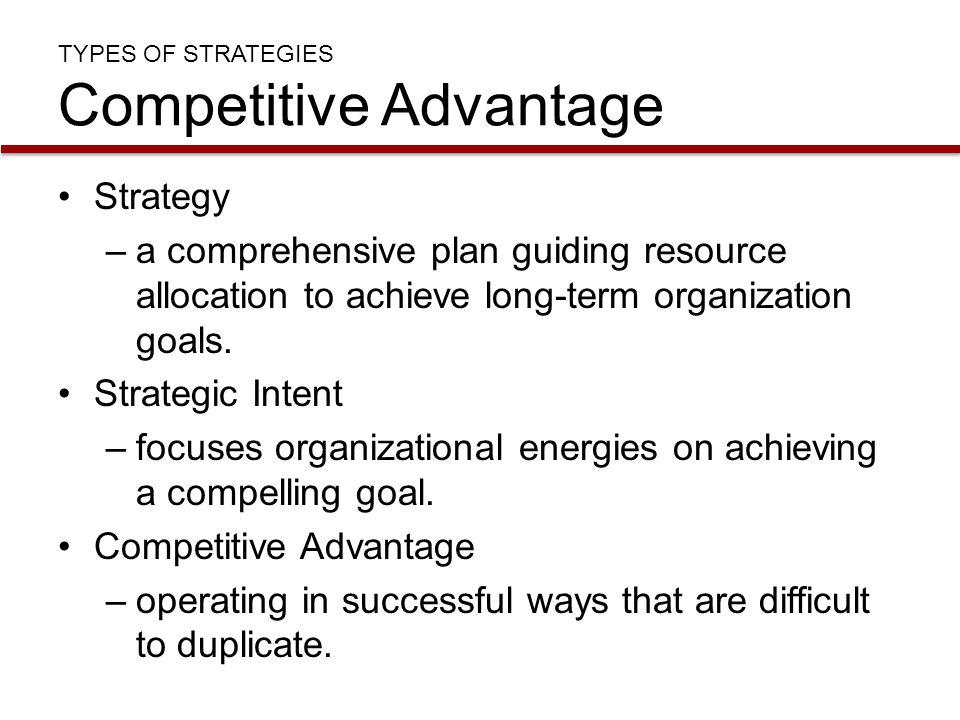 TYPES OF STRATEGIES Competitive Advantage