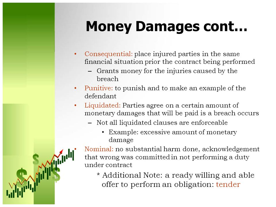 Money Damages cont… Consequential: place injured parties in the same financial situation prior the contract being performed.
