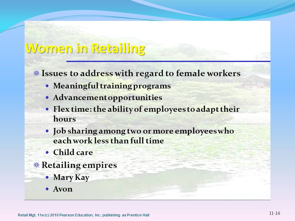Women in Retailing Issues to address with regard to female workers