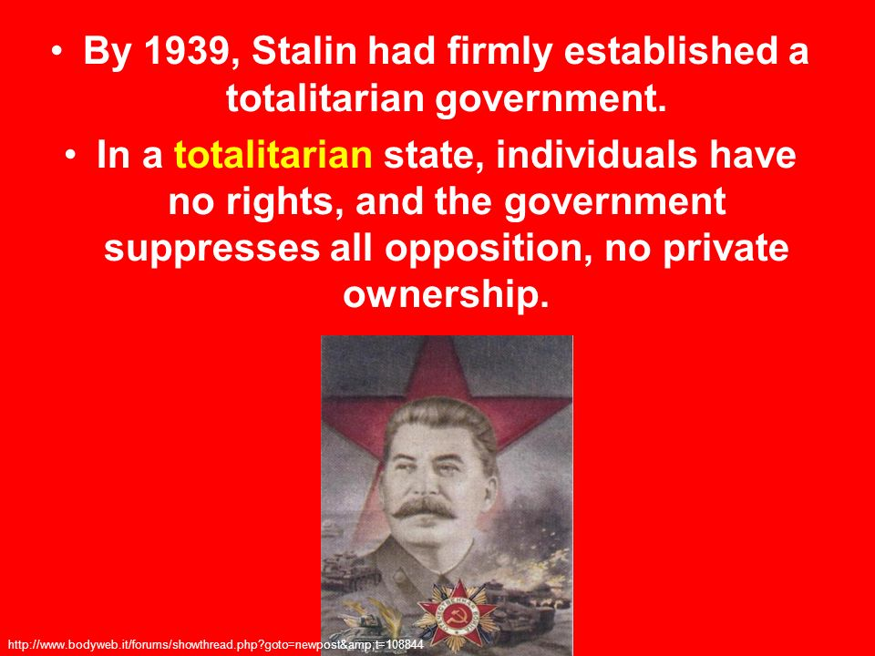 By 1939, Stalin had firmly established a totalitarian government.