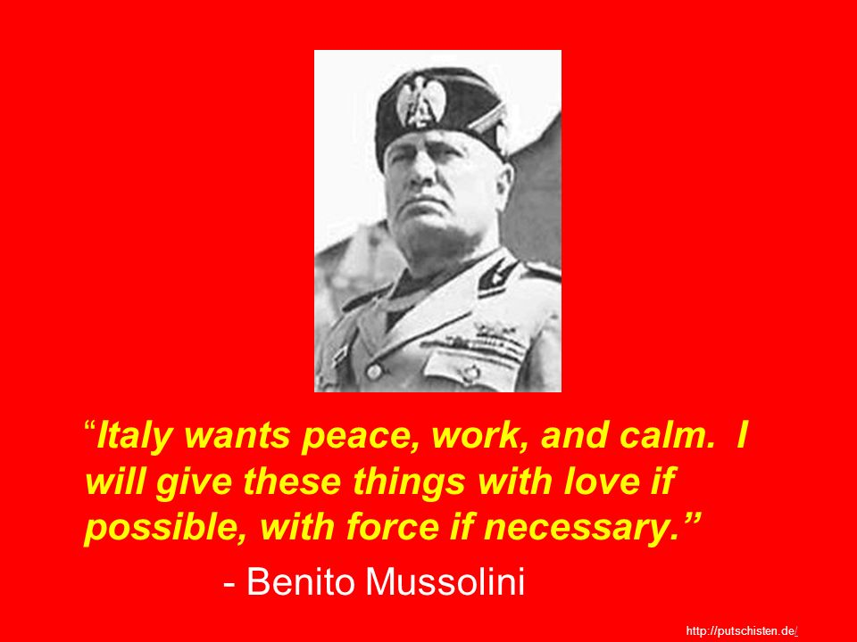 Italy wants peace, work, and calm
