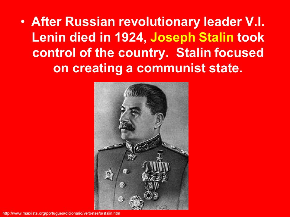 After Russian revolutionary leader V. I