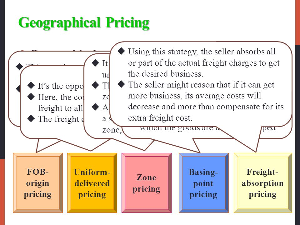 Geographical Pricing Using this strategy, the seller absorbs all or part of the actual freight charges to get the desired business.