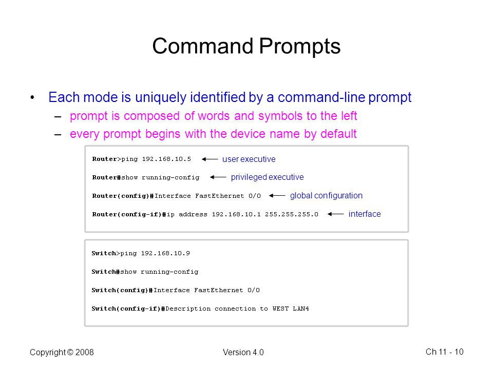 Command Prompts Each mode is uniquely identified by a command-line prompt. prompt is composed of words and symbols to the left.