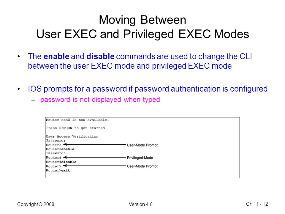 Moving Between User EXEC and Privileged EXEC Modes