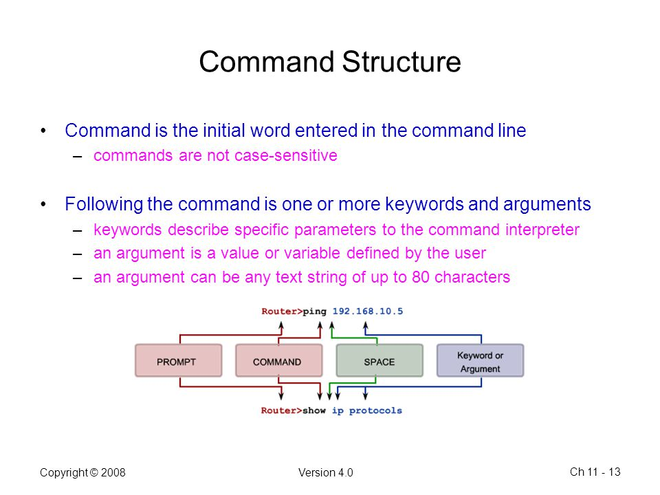 Command Structure Command is the initial word entered in the command line. commands are not case-sensitive.