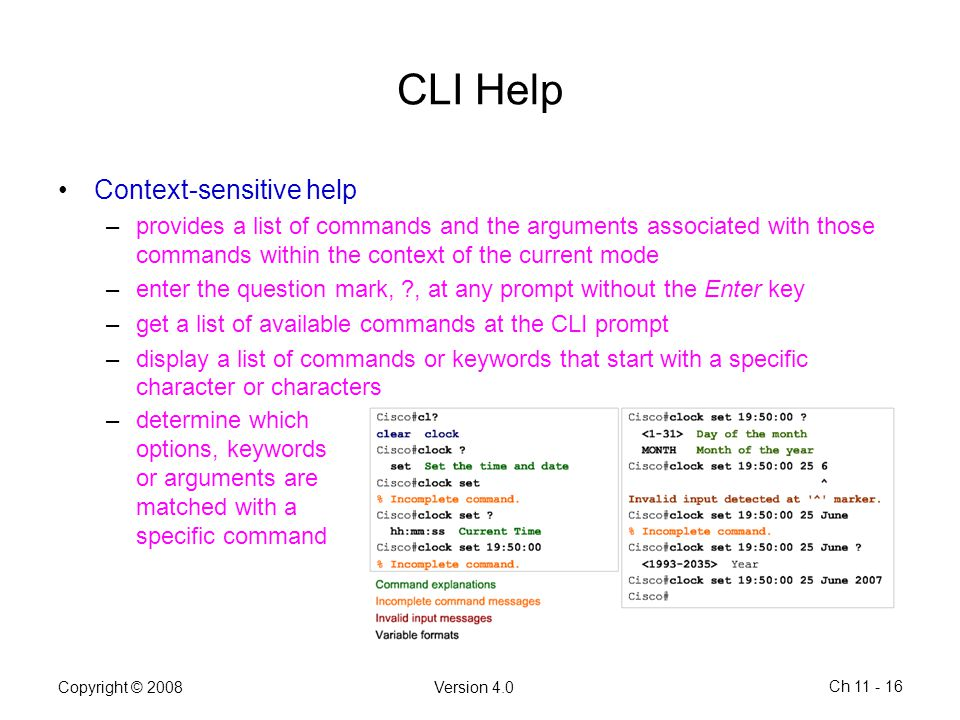 CLI Help Context-sensitive help