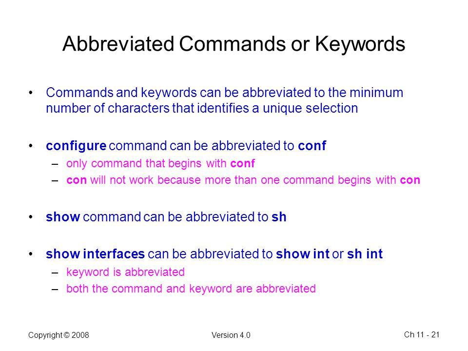 Abbreviated Commands or Keywords