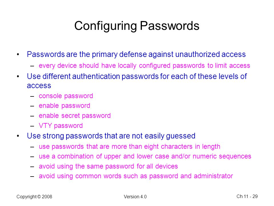 Configuring Passwords