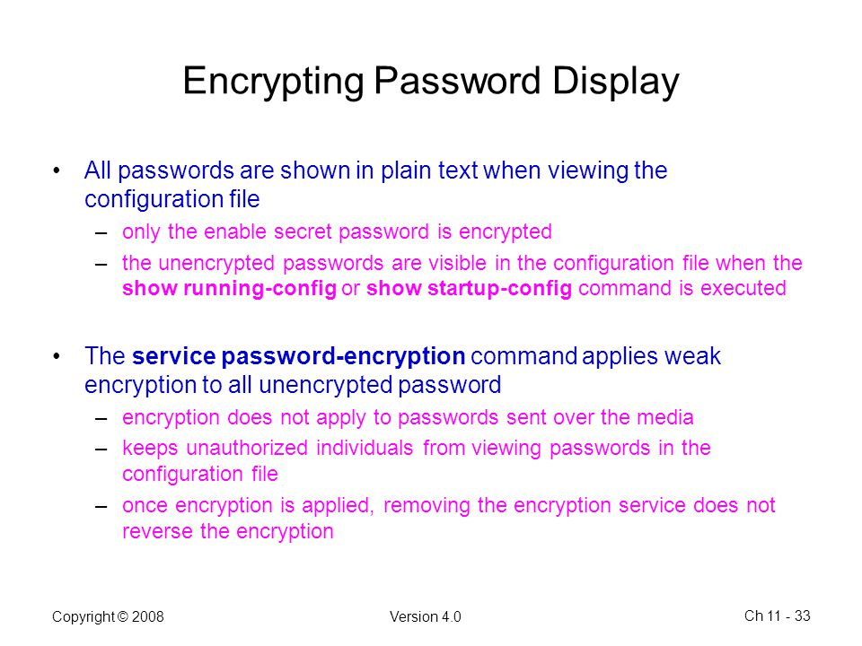 Encrypting Password Display