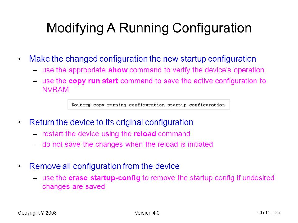 Modifying A Running Configuration