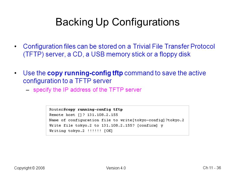 Backing Up Configurations